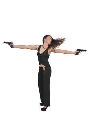 Beautiful police detective woman on the job with guns
