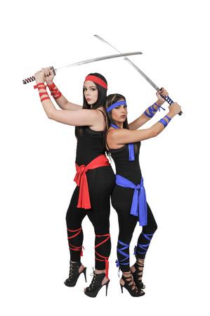 bushido: Young women with samurai bushido katana swords