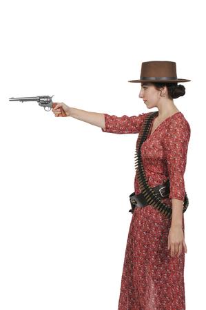 Schöne junge Land Mädchen Frau trägt einen stilvollen Cowboy Hut und Revolver Standard-Bild - 77762822