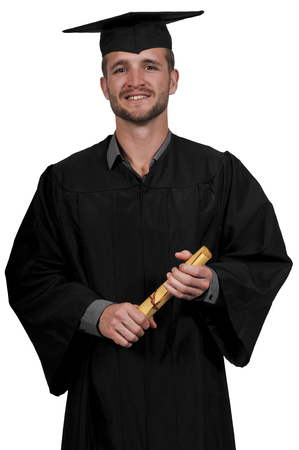 graduated: Young man in his graduation robes Stock Photo