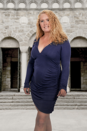 Beautiful middle age attractive woman modeling a pose Standard-Bild