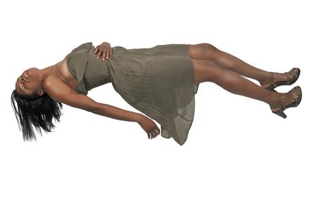 Mooie jonge zwarte vrouw die in de lucht zweven