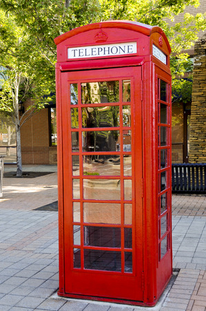 Vintage phone booth used before the age of cell phones Stok Fotoğraf - 82012817