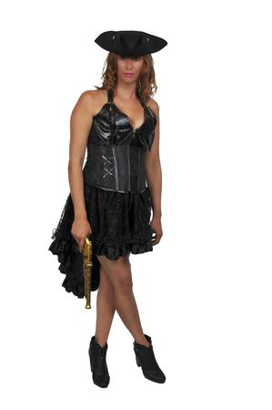 Belle jeune femme pirate avec un pistolet à silex Banque d'images - 84547397