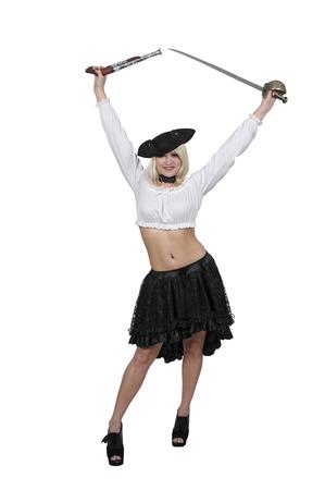 Belle jeune femme pirate avec un pistolet à silex et épée Banque d'images - 87096092