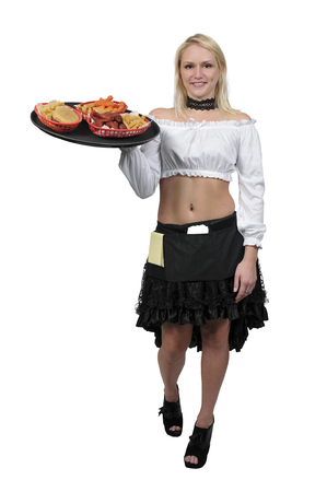 Woman food service worker server or waitress Stock Photo