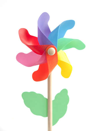 toy windmill shaped flower on white background Stock Photo - 16412250