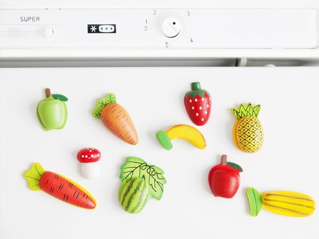 fridge: Magnets shaped and colored