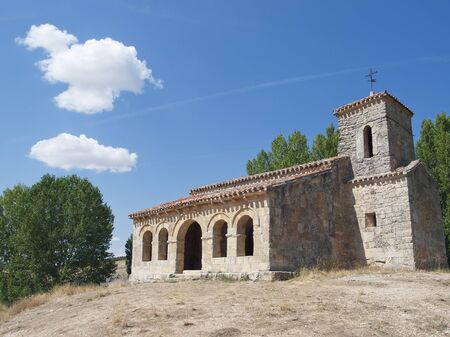 Mozarabic chapel with Romanesque portico of St  Cecilia in santiba�ez of val in the province of Burgos, Spain  Stock Photo - 16485288