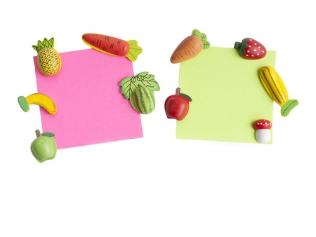 annotation: Magnets shaped and colored notepaper