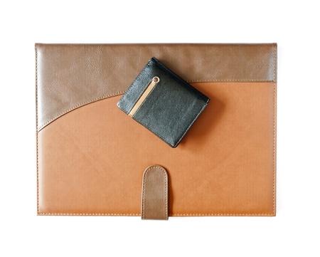 leather case notebook isolated on white background Stock Photo - 16514968