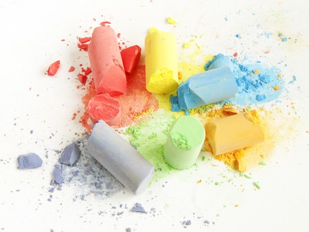 colored chalk painting on white background