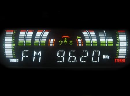 parte: Radio FM ecualizador sobre fondo negro