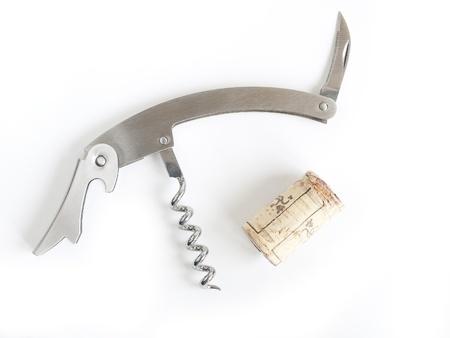 Sacacorchos de acero aislado en un fondo blanco Stockfoto