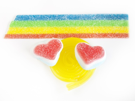 Heart-shaped candy on white background Stock Photo