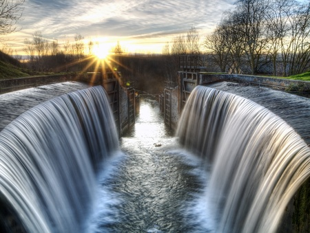 palencia province: Castilla Canal locks in the province of Palencia, Spain with the HDR treatment