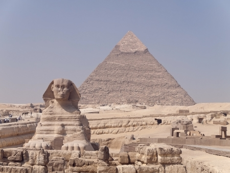 The Sphinx and the Great Pyramid of Giza in Egypt