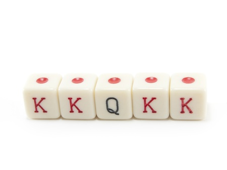 says: poker dice on white background Stock Photo