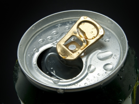 Aluminum can with water drops isolated on black  Stock Photo