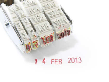 Date months years stamper on a white background   photo