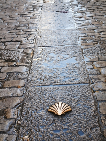 Symbool van de Camino de Santiago als het door Burgos, Spanje