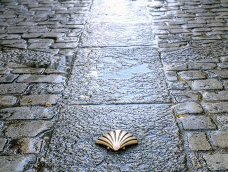 p�lerin: Symbole du Camino de Santiago en traversant Burgos, Espagne