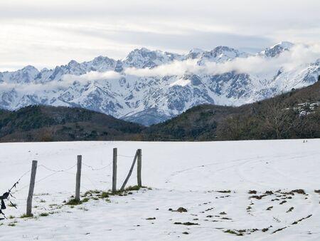 snowy landscape of the Picos de Europa in Asturias, Cantabria, SpainMERA Stock Photo