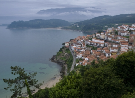 Panoramic view of Lastres, Asturias, Spain