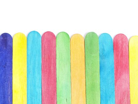 Wooden Rainbow Isolated Fence on White Background Stock Photo - 18849337