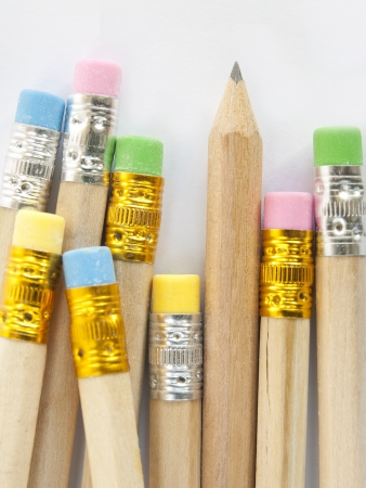 colorful erasers on pencils write photo