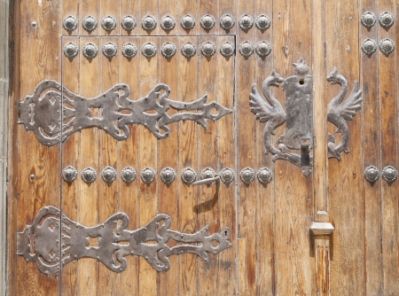 detail of medieval gate of the ancient city of Burgos, Spain