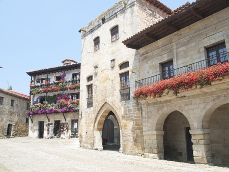 Streets typical of old village of Santillana del Mar, Spain  Stock Photo
