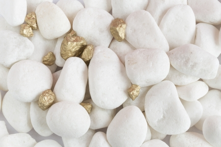 tough luck: golden stones with white stones