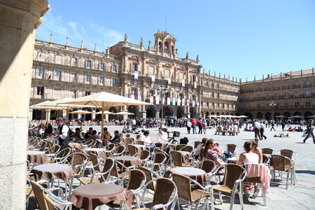 SALAMANCA - APRIL 18: Salamanca Market Square at Easter, on April 18, 2013, Salamanca, Spain. This square and its terraces are one of the main tourist attractions of the city.