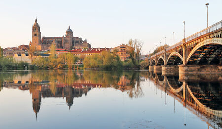Bridge of Sanchez Fabres in Salamanca over Tormes river and Cathedral, Spain