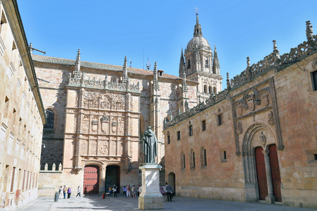 Beautiful view of famous University of Salamanca, the oldest university in Spain and one of the oldest in Europe, in Salamanca, Castilla y Leon region, Spain