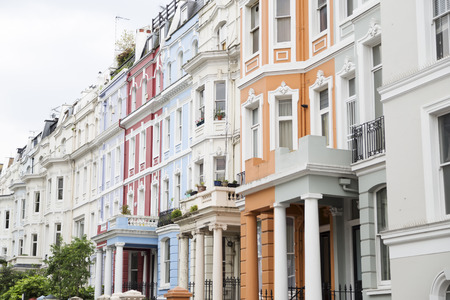 Notting Hill colorful houses at Portobello, west London  photo