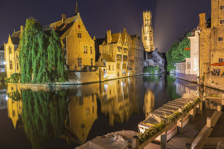 Night view of canal in Bruges  Stock Photo