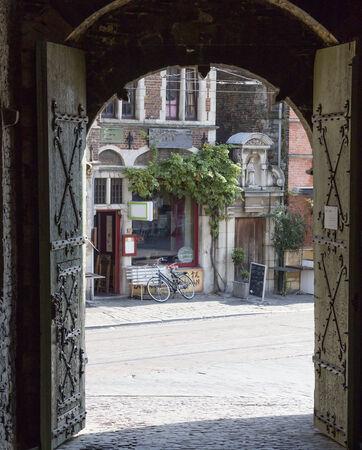 Gent - entry to Gravensteen castle, Belgium