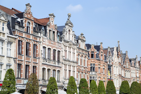 Row of beautiful buildings. Oude Markt (Old Square) in Leuven, Flemish Brabant, Belgium.