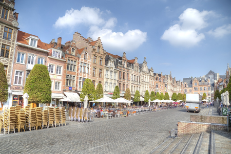 leuven: Row of beautiful buildings. Oude Markt (Old Square) in Leuven, Flemish Brabant, Belgium.