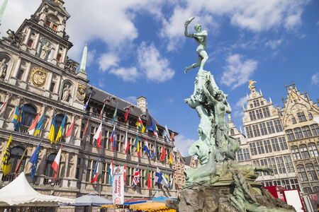 Nice houses in the old town of Antwerp, Belgium Editorial
