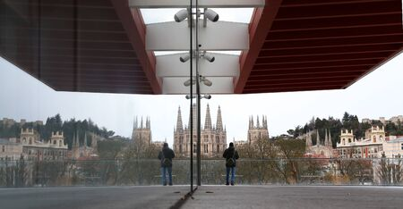 City burgos with mirrored glass gothic cathedral in the museum of human ebolucion
