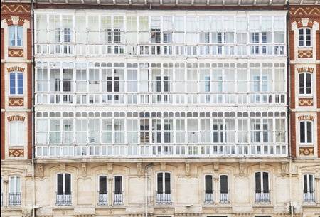 windows typical of the city of Burgos, Spain