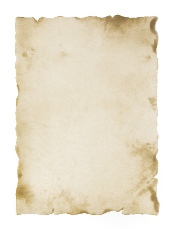 paper note: old blank parchment isolated Stock Photo