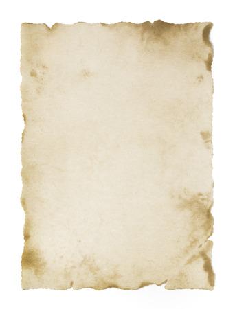 old aged: vecchia pergamena bianco isolato Archivio Fotografico
