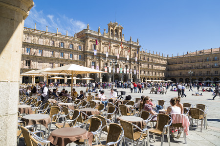 castile leon: SALAMANCA, SPAIN - APRIL 4, 2014: Plaza Mayor located in center of Salamanca