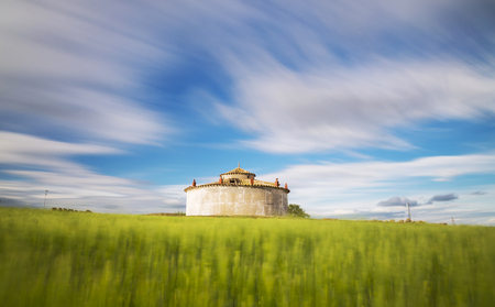 castile and leon: Square dovecote in the middle of a cultivated field in Castile and Leon, Spain Stock Photo