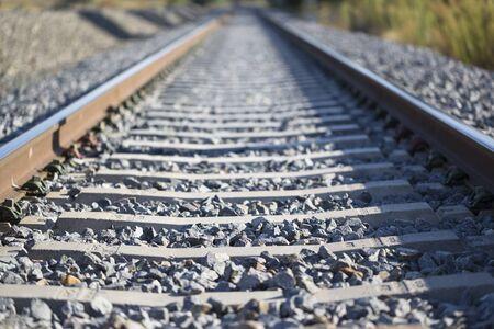 advances: Railroads in rural landscape Stock Photo