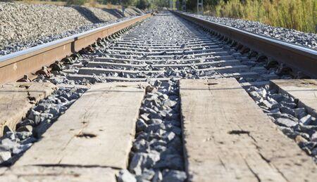 railroads: Railroads in rural landscape Stock Photo
